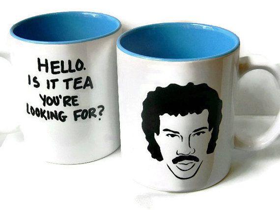 Funny hello is it tea youre looking for mug lionel richie mug lionel fan gift tea coffe mug cup blue