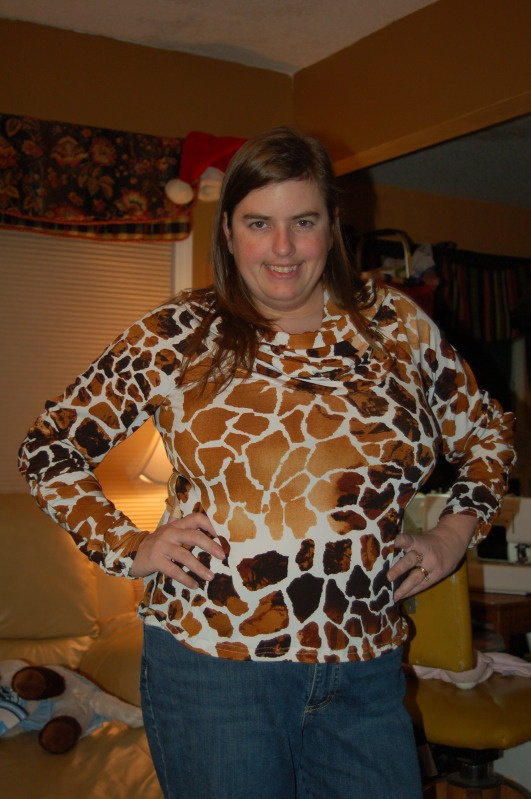 Vogue 1197 - completed in giraffe print ITY (from Cache, purchased from Fabric Mart) - 12/13/11: Pattern