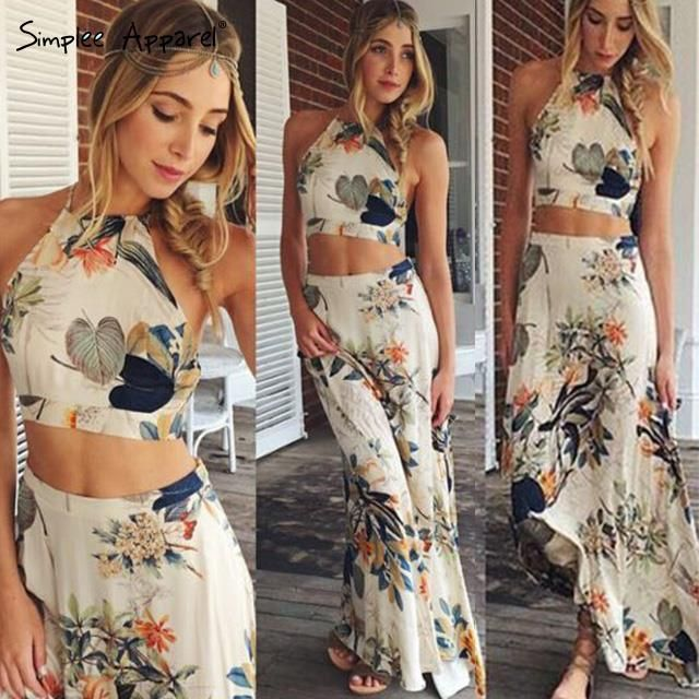 Sexy Summer Flower Print Long Bohemian Dress 2016 Women Elegant Backless Halter Cross Maxi Sleeveless Dresses Two Pieces Online with $11.06/Piece on Cathywang168's Store | DHgate.com