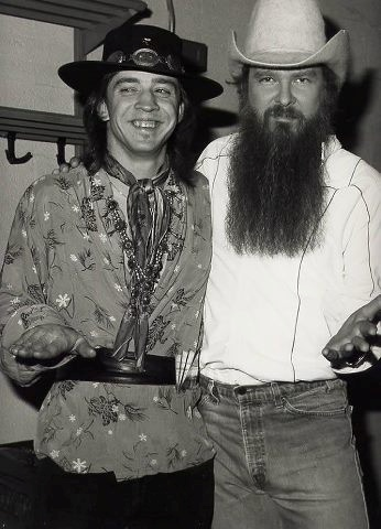 Two Texas Ledgens... Billy Gibons and Stevie Ray Vaughn..