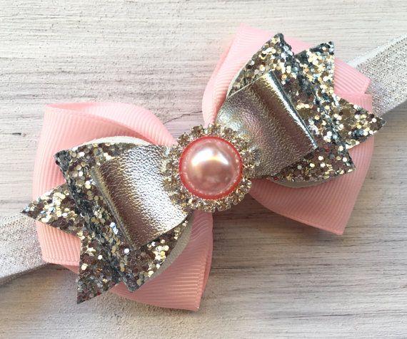Arco rosa y plata brillo venda del bebé por ModernMeCollection