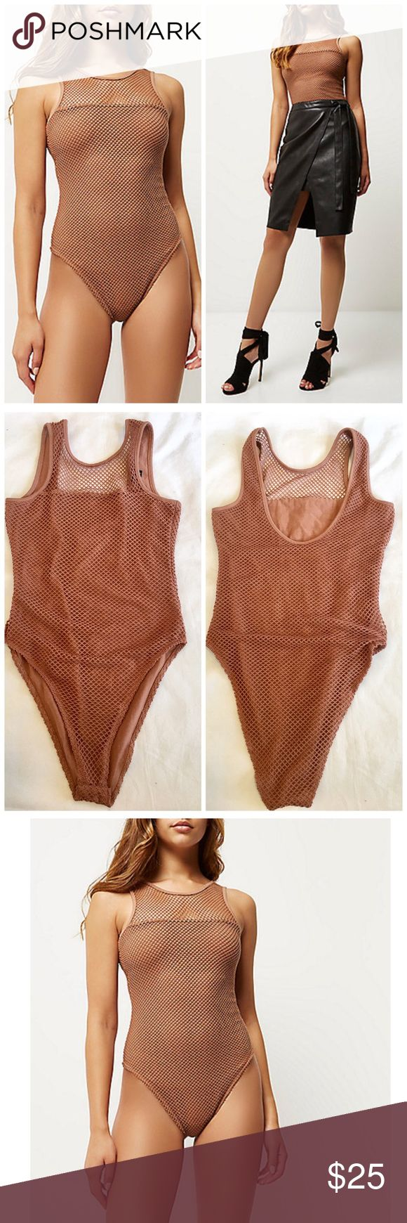 RIVER ISLAND BROWN MESH BODYSUIT TOP US 2 UK 6 new RIVER ISLAND MESH BODYSUIT $44 retail price brand new without tag inner label marked perfect condition. DETAILS: size US 2 UK 6. Brown mesh bodysuit, partially lined, high cut leg, snap closure. Love this color!!! River Island Tops Tank Tops