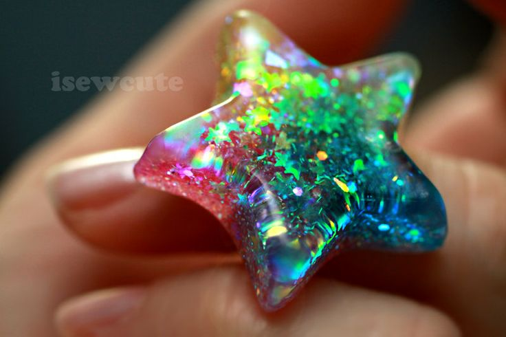 Rainbow Star Ring ...Catch a Falling Star Like Mermaid Treasures ...gorgeous glitter resin jewelry handmade by isewcute.
