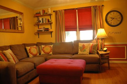 This Room Is So Similar To My Living Room Mustard Yellow Walls Wrap Around Couch Autumn Tones