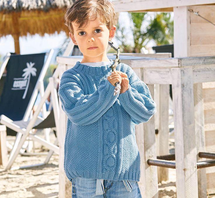 Голубой джемпер для мальчика - схема вязания спицами. Вяжем Джемперы на Verena.ru