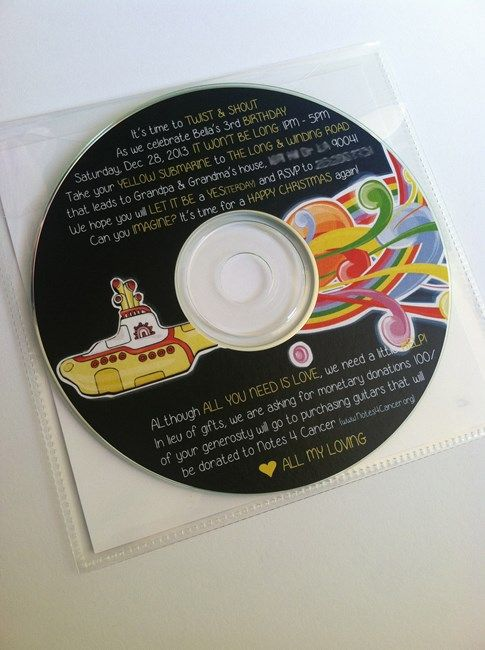 Beatles Birthday Party - invitation is a CD of Beatles songs - love!!
