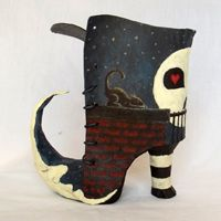 paper mache and cereal box cardboard.