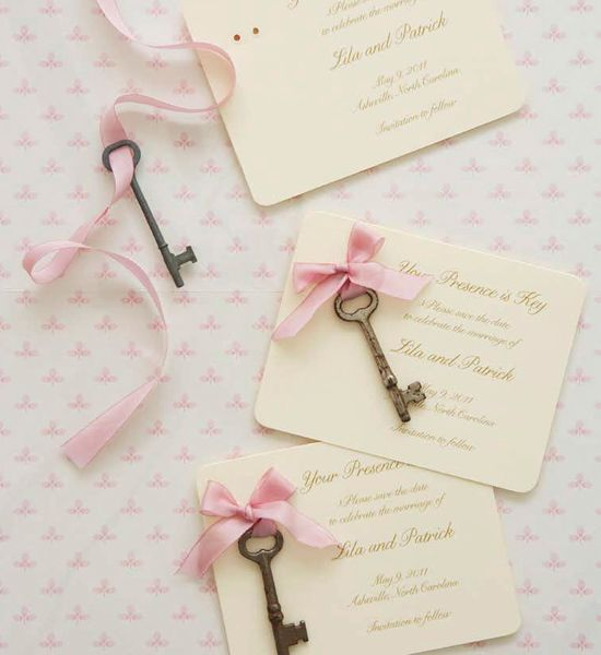 vintage key save-the-date cards  @Shannen Lafferty I thought of you when I saw this!!!    love for a home wedding