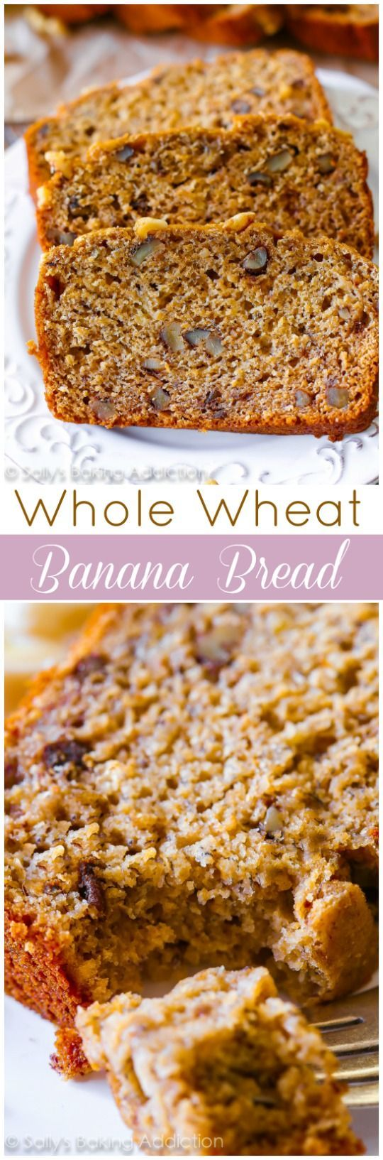 No butter, no oil, 100% whole wheat and actually tasting GOOD Whole Wheat Banana Bread. Seriously, it's wonderful!