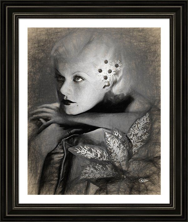 #Jean #Harlow Sketch Framed Print By Quim Abella