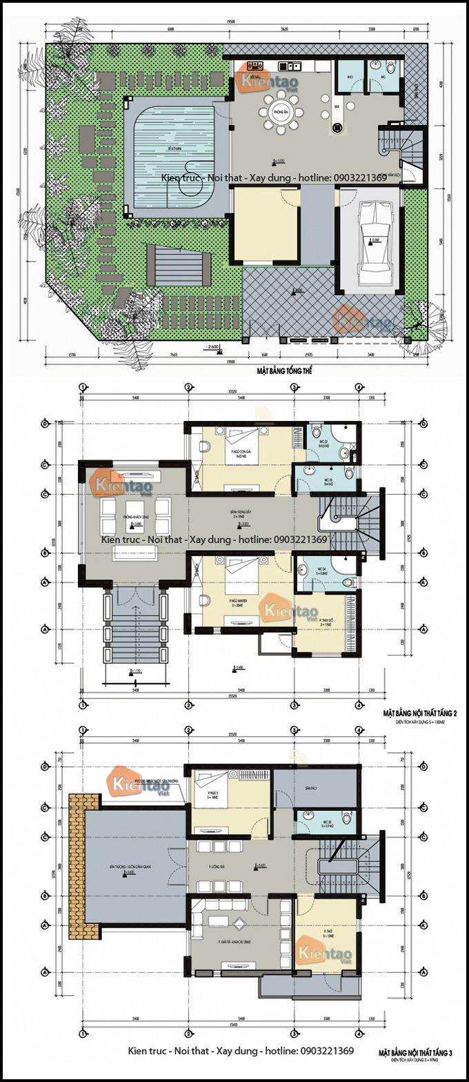 Mặt bằng kỹ thuật tham khảo dành cho mẫu nhà biệt thự đẹp 3 tầng 120m2