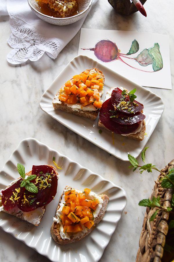 I crostini di Sora Clà - vegetable crouton with pumpkin and beetroot