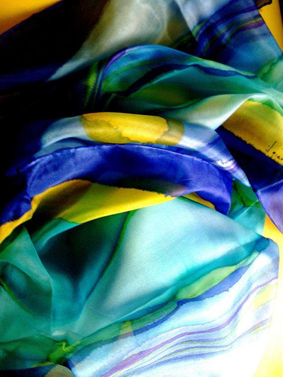 Sciarpa Dipinta a Mano su seta Sciarpa di ilgiardinoacerorosso