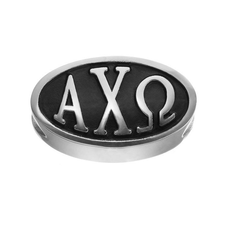 LogoArt Alpha Chi Omega Sterling Silver Oval Bead, Women's, Grey
