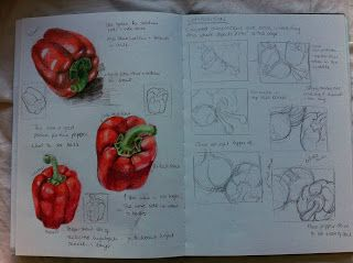 OCA Learning Blog - Drawing 1: Assignment 3 - Drawing Fruit and Vegetables in Colour