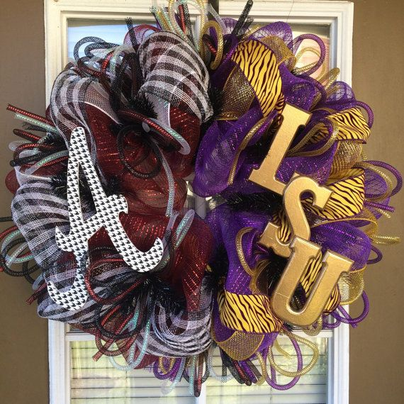 LSU / Alabama Divided Wreath by SouthernWreathDesign on Etsy