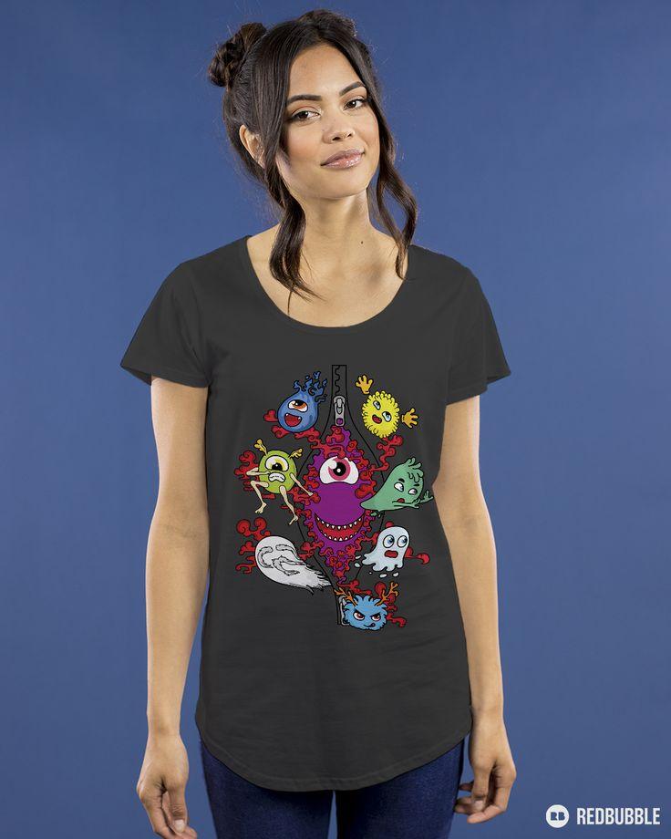 Monster under the zipper by Little Monster women's premium t-shirt on RedBubble. Art T-shirt