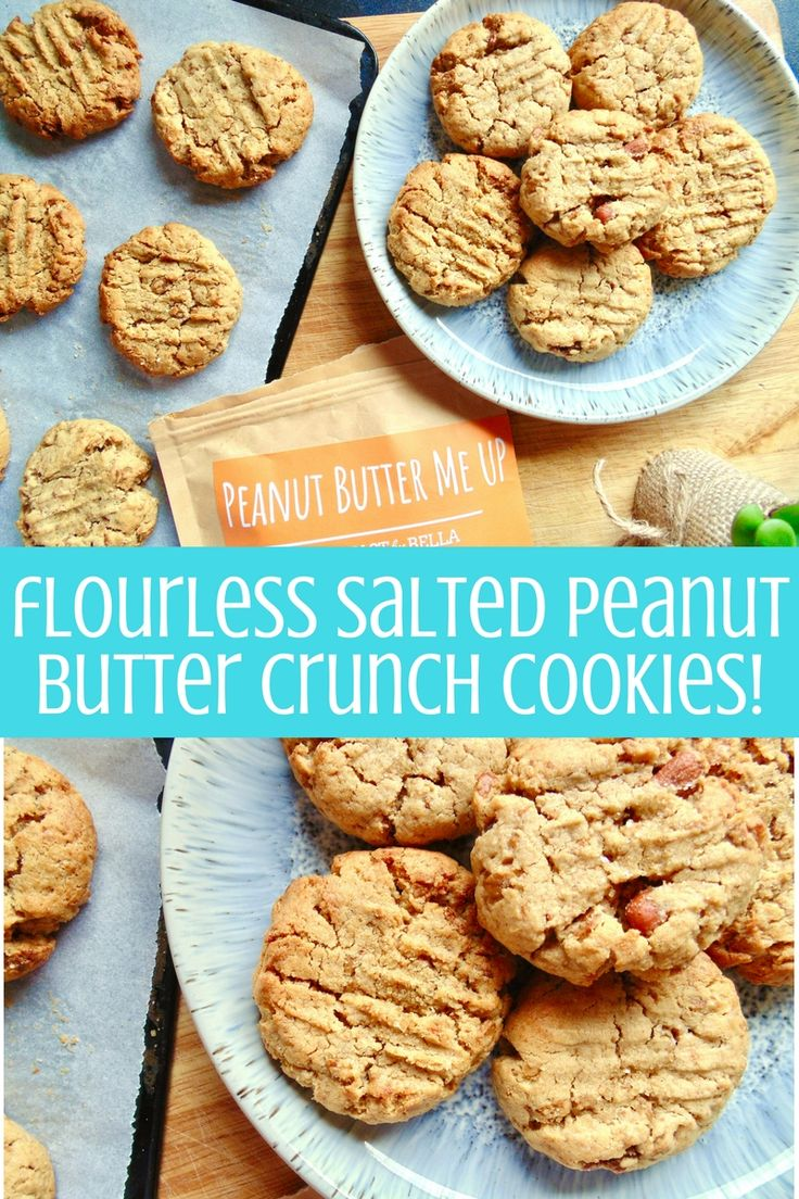 Flourless Salted Peanut Butter Crunch Cookies; soft and chewy cookies loaded with perfect sweet-salty peanut butter flavour and crunchy bites of granola!