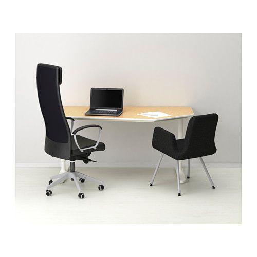 BEKANT 5-sided desk, sit/stand - birch veneer/white $499 - IKEA