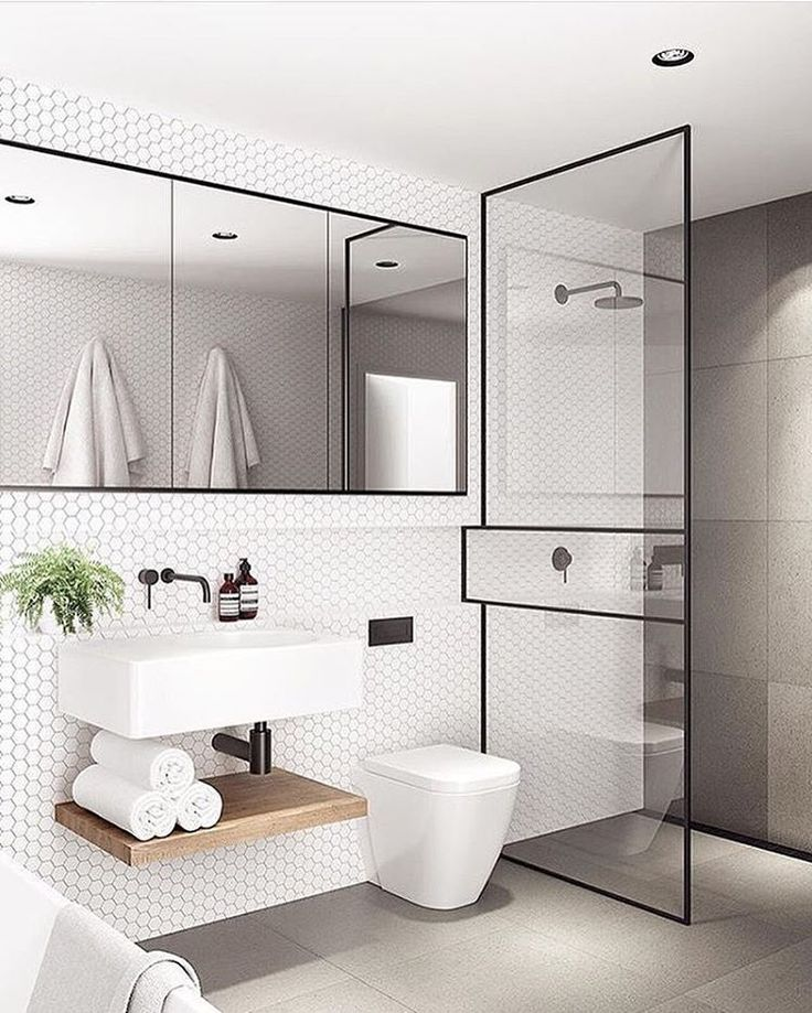 Major Bathroominspo From Tomrobertsonarchitects Tonight Loving The Hexagontiles Recessed Shelving