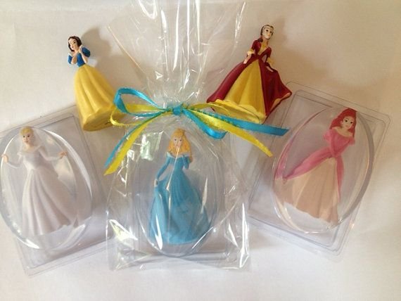DISNEY PRINCESS,  Inspired Glycerin Soap Bar with Collectible Toy Inside, Packaged in Plastic Soap Dish on Etsy, $7.00