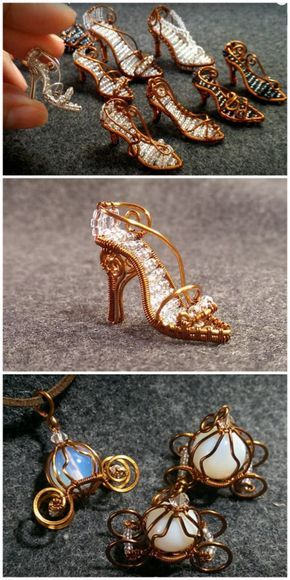 Zapatillas de cristal de Cenicienta envueltas por mini alambre de bricolaje y entrenador de calabaza Los zapatos de Cenicienta son para aquellos con habilidades avanzadas de envoltura de alambre; el entrenador de calabaza es mucho más fácil de hacer