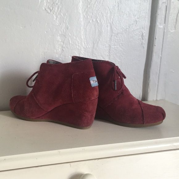"""Toms Wedge Booties Soft suede booties in a lovely maroon (I also have them in beige if anyone's interested). Super comfy with a 2.5"""" rise and lace up front. Love them, but never wear 'em. TOMS Shoes Ankle Boots & Booties"""