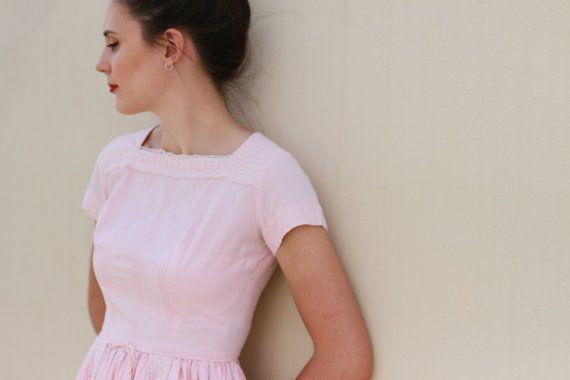 Vintage 1950s Sandra Dee Blush Pink Party Dress / Full Skirt/ XS/S