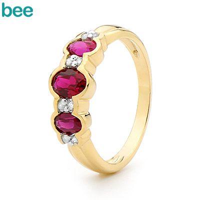 B33 - Created Ruby and Diamond Eternity Ring