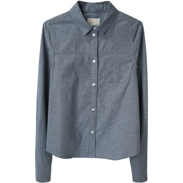 Boy by Band of Outsiders Boxy Chambray Shirt (210 CAD) ❤ liked on Polyvore featuring tops, blouses, shirts, long sleeves, long sleeve shirts, blue button up shirt, blue chambray shirt, chambray button down shirt and button up blouse
