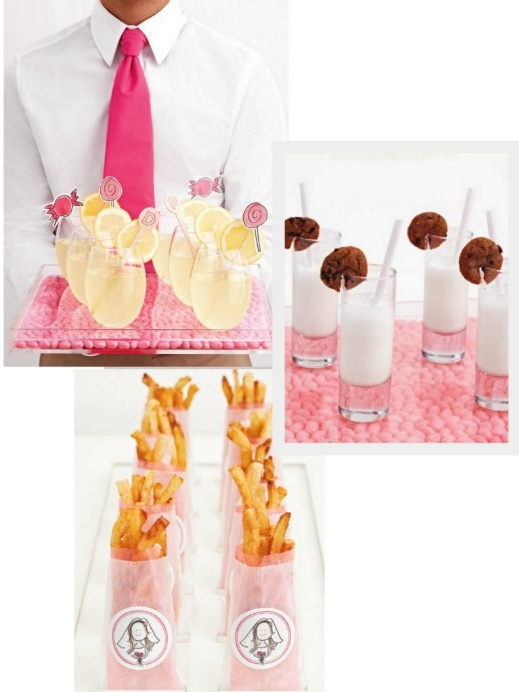 """How """"sweet"""" is this candy-theme bridal shower? Love all the great ideas that can be easily applied to a baby shower or birthday party... like the french fries in glassine bags, or theLemon Drop cocktails punched up with swizzle sticks, or the crowd-pleasing mini milkshakes served in double shot glasses and garnished with chocolate chip cookies!!! The candy bar was done using acrylic rectangles containers for the perimeter and the letters where custom made {I Love Lucite (310-966-0740)}. Keep...: Bridal Showers Candy Themed, Pink Baby Showers, Candy Themed Bridal Showers, Bridal Shower Ideas, Bridal Showers Idea, Baby Brid Showers, Birthdays Bridal Baby Showers, French Themed Baby Showers, Birthday Party"""