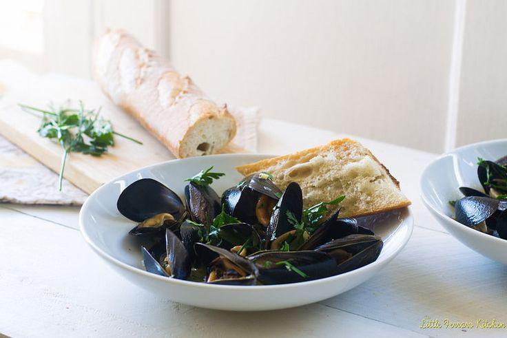Julia Child's Mussels Mariniere via LittleFerraroKitchen.com