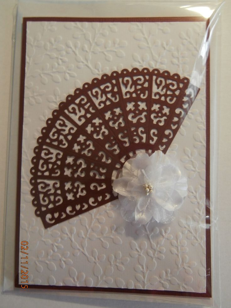 Tattered Lace Oriental Fan with Spring Blooms embossing folder background and a Green Tara flower #2 of 2 cards