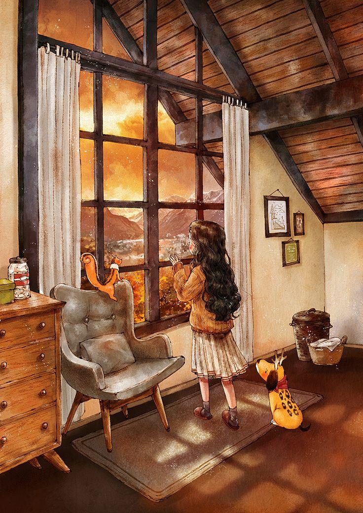 '오늘 하루 어땠나요?' 밝은 눈으로 물어보는 노을에게 '오늘은 참 보람찬 하루였어요! 게으름 피우지 않고 충실한 하루를 보냈어요.' 라고 답하기 부끄러워 침묵으로 응대하자 슬그머니 고개 너머로 사라지고 마는 그 모습. 가만히 창가에 앉아, 지는 노을을 바라보고 있노라면 괜스레 마음 한편이 시큰해지기도 합니다.