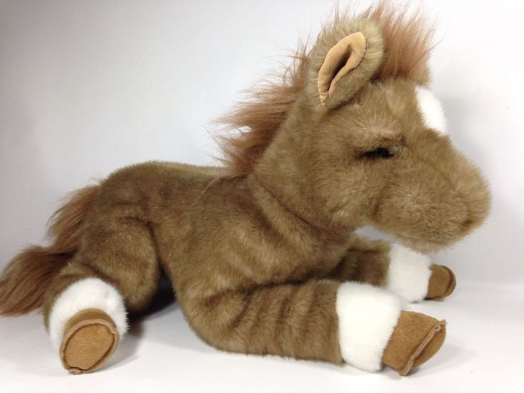 "Gund Classic Plush Horse Apples Large Huge Jumbo Brown Suede Hooves Pony 18""  #GUND"