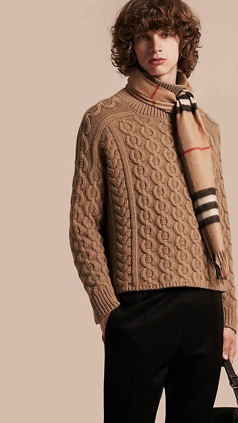 Camel Suéter de lã e cashmere em ponto trançado - Imagem 1