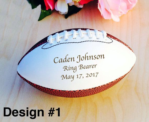 Ring Bearer Gift Engraved Football Groomsmen by crimsonking