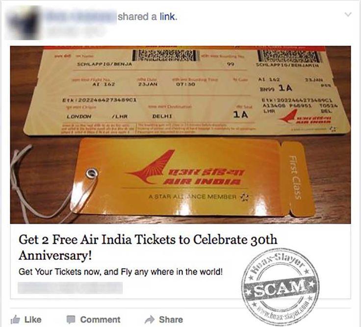 """2 Free Air India Tickets"" Facebook Scam"