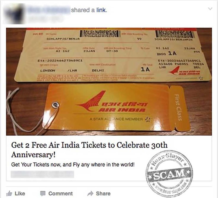 """2 Free Air India Tickets"" Facebook Scam"