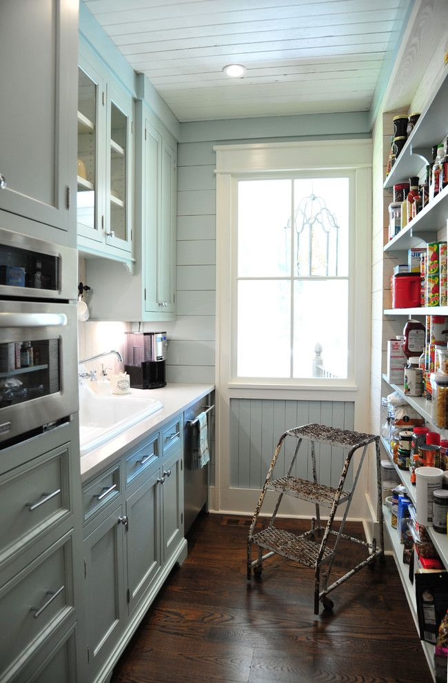 galley kitchen and pantry farmhouse style small kitchen with shiplap and dark wood floors - Galley Hotel Decorating
