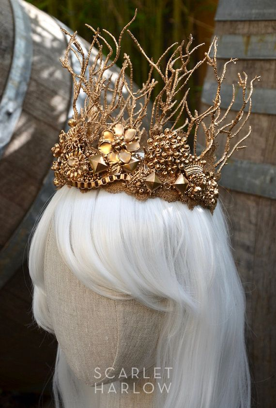 Bridal crown  tiara  gold  contemporary  bespoke  by ScarletHarlow