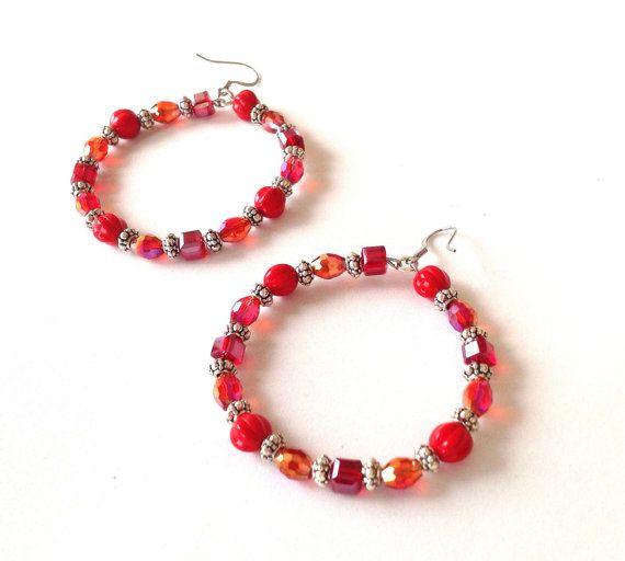 Red irridescent crystal hoop earrings