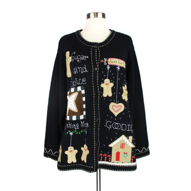 Quacker Factory Large Christmas Cardigan Sweater L Black Gingerbread Holiday Vtg #QuackerFactory #Cardigan #Christmas