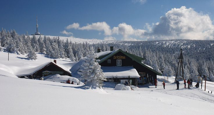 "Praded Ski Centre in Jeseniky Mountains. ""Švýcárna"" is the oldest tourist chalet in the Jeseníky Mountains on the main mountain ridge of the Jeseníky Mountains"