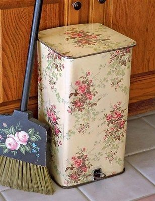 Victorian Trading Co Roses Lidded Waste Bin Trash Can