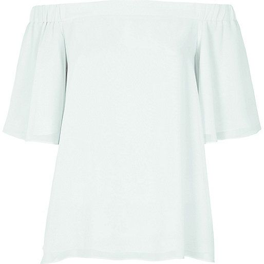 Light green bardot top - bardot / cold shoulder tops - tops - women