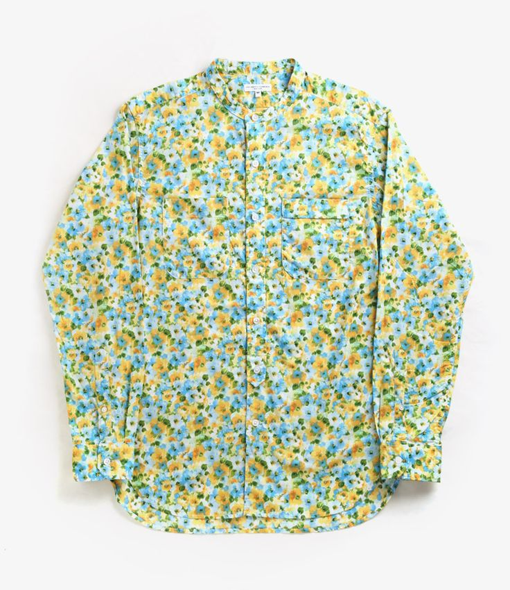 nepenthes online store,ENGINEERED GARMENTS Banded Collar Shirt - Floral Lawn