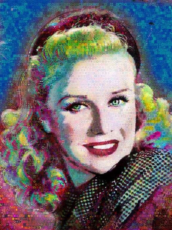 """""""Only I know my life""""Ginger Rogers made out of abstracts.Dimension 80 x 60 inches-Canvas"""