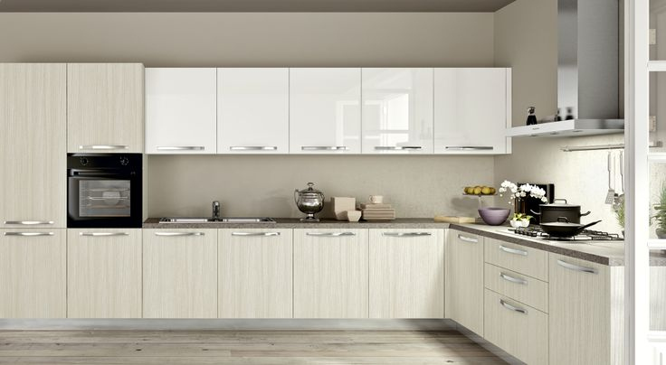 Composizione cucina moderna SMART anta liscia lino e bianco - Top portland Grigio #cucine ekocucine.it