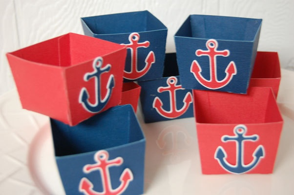 Candy Cups, Nut Cups, Dessert Cups, Shower Favors, Wedding Favors, Birthday Favors, Nautical Theme, Blue and Red with Anchor, 12 Pcs. $12.00, via Etsy.